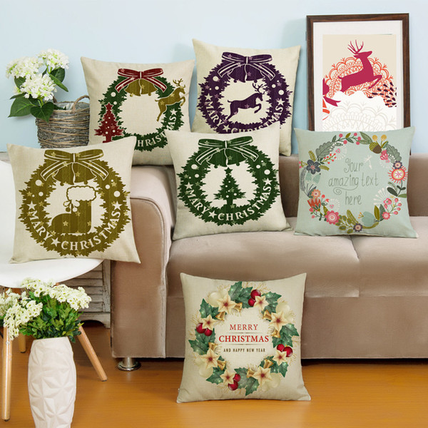 Cushion Covers in Christmas Rings Cotton Linen Blends in 6 Colors for Home Decoration Free Shipping