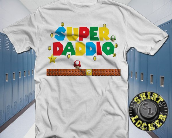 Funny Super Daddio Video Game Mashup Shirt Super Mario Brothers Father's Day Funny free shipping Unisex Casual