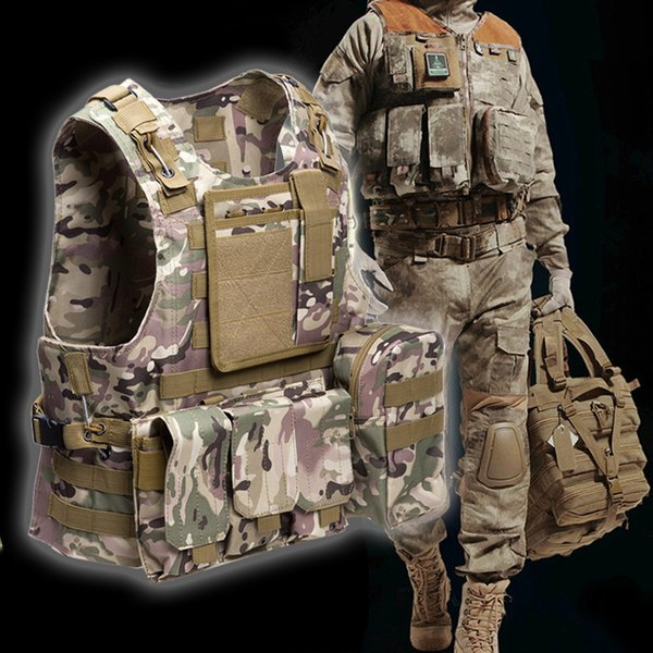 Outlife Amphibious Tactical Vest Molle Waistcoat Combat Assault Plate Carrier Vest for Outdooor Hunting