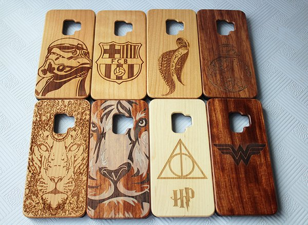 Luxury Wood Engraving Phone Case For Samusng Galaxy S9 S9 plus S8 S7 edge Customized Design Bamboo Wooden Phone Cover For Iphone X 7 8 6 6S