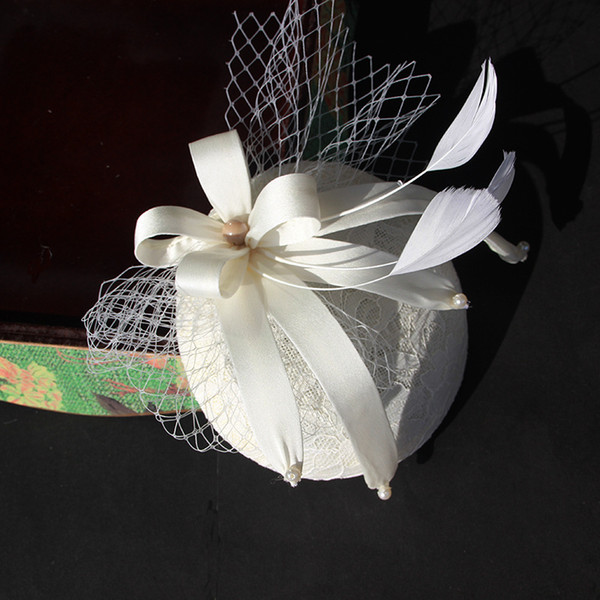 2018 Hottest Vintage Hats Perfect Birdcage Headpiece Beads White Black Red Blue Bridal Net Hat Wedding Bird Cage Veils
