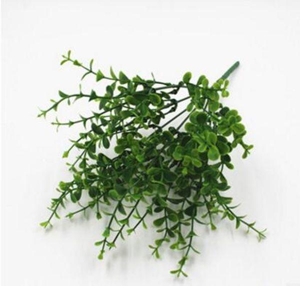 Flores de plástico, flores artificiais, plantas verdes, plantas ornamentais, 7 cabeças e 49 cabeças, simulação de Eucalyptus Leaf L650
