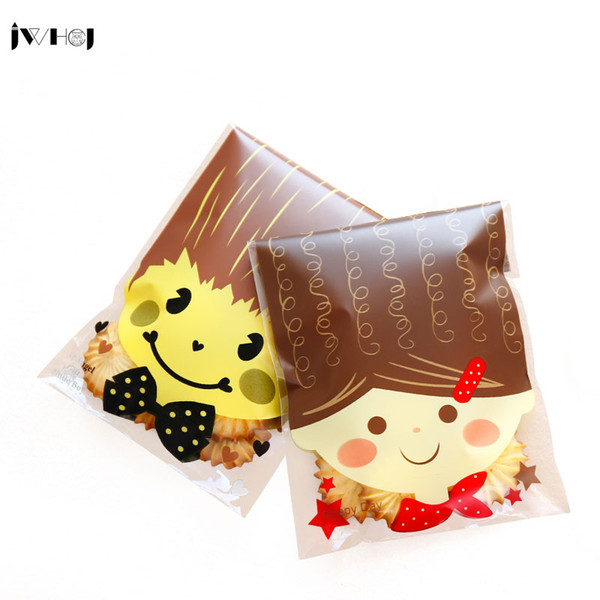 50 pcs/lot Cute boy girl adhesive bag cookies diy Gift Bags for Christmas birthday Party Candy Food&Handmade soap Packaging bags
