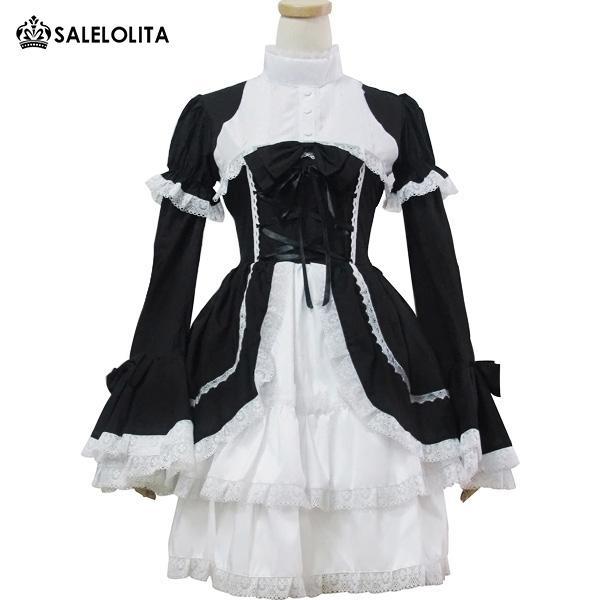 Plus Size Japonaise Fille Douille Maid Cosplay Maid Uniformes Noir Bow Princesse Lolita Robe