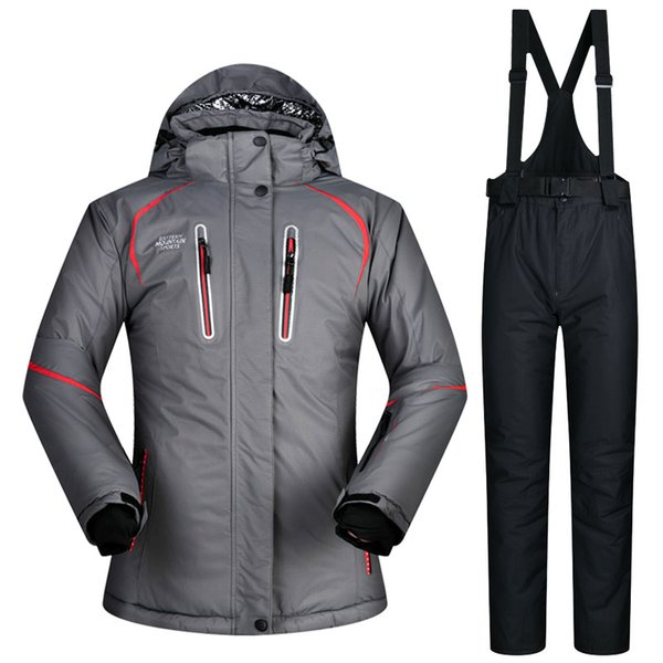 Free Shipping New Female Ski Suits Snow Jacket and Pants Women's Cotton-Padded Snowboard Ski SuitsWaterproof Breathable Thermal