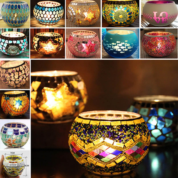 best selling Mosaic Glass Candlestick Wedding Party Prop Wedding Bar Candle Holder Home Decoration Lantern XMAS Gifts Not With Candle 18 Designs TY7-271