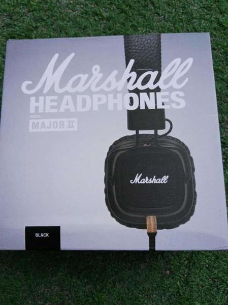 Auriculares Hot Marshall Major II Con Micrófono Profundo Bass DJ Auriculares Hi-Fi Auriculares HiFi Monitor Profesional DJ Auriculares negro Soporte Al Por Menor