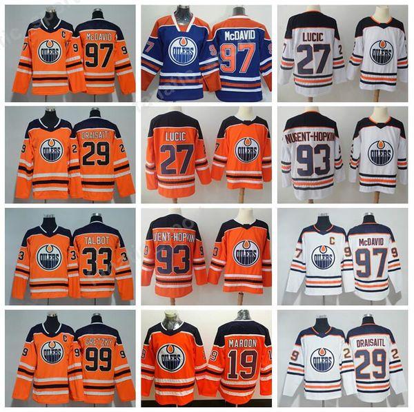 ce05ab3c5 Edmonton Oilers 29 Leon Draisaitl Jersey 2018 Hockey 99 Wayne Gretzky 97  Connor McDavid 27 Milan