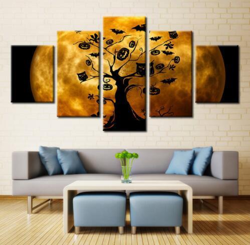 5 Stücke Abstrakte Baum Und Mond Landschaft Modularen Bilder Für Wohnzimmer Wand Poster Wohnkultur Leinwand Gemälde