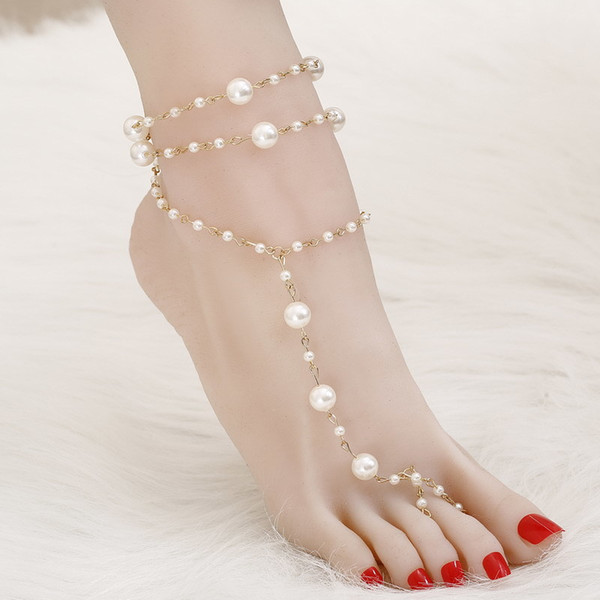 Brand Anklet 1 PC Bridal Barefoot Sandals Simulated Pearl MultiLayer Anklet Wedding Beach Foot Jewelry Wholesale Jewelry