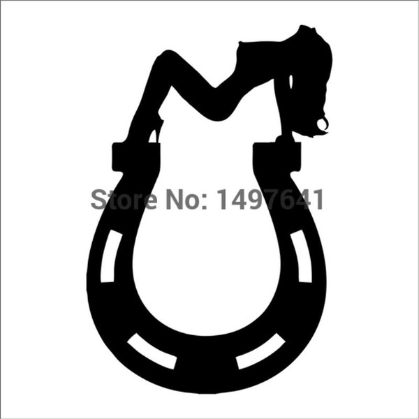 HotMeiNi Wholesale 20pcs/lot Horseshoe Sexy Pin Up Girl Car Window Wall Decal Truck Bumper Auto SUV Door Kayak Canoe JDM