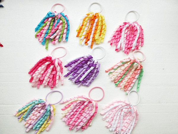 Girl O A-korker Ponytail curl tassel korker ribbons streamers hair bows with elastic corker Curly ribbon hair clip headwear 20pcs PD002