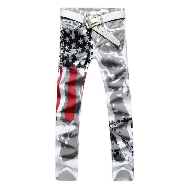 New Luxury Brand Stretch Mens Jeans American Flag Printing Cut Jeans Men Casual Slim Fittness Trousers Denim Hip Hop Pants
