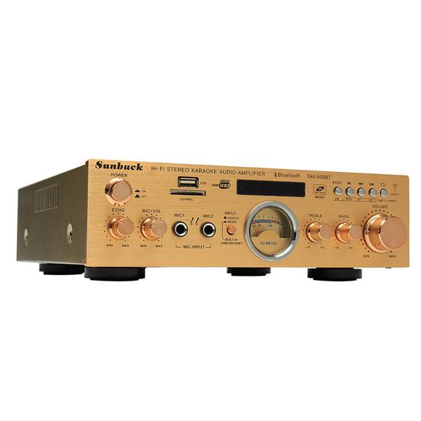 Sunbuck TAV-505BT 400 W + 400 W HiFi Bluetooth Power Amplificateur VU Amplificateur Stéréo Karaoké FM USB Stéréo MP3 Stero Sound