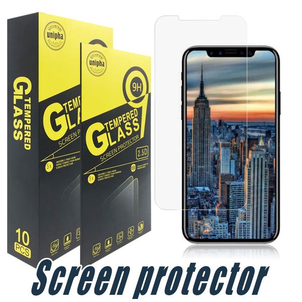 best selling Tempered Glass Screen Protector 9H 2.5D For iPhone 11 pro max XR 8 7 6S Plus Samsung J3 J2 pro J7 J8 J4 J6 Plus Prime 2017 2018 LG Stylo 4 3
