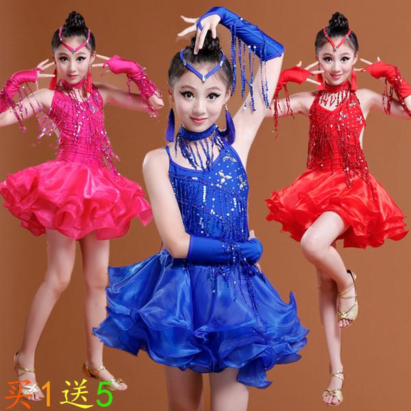 Sexy Red Fringe Latine Salsa Robes De Compétition Girls Rumba Ballroom Tango Robes Performance Danse Costumes Pour Les Enfants