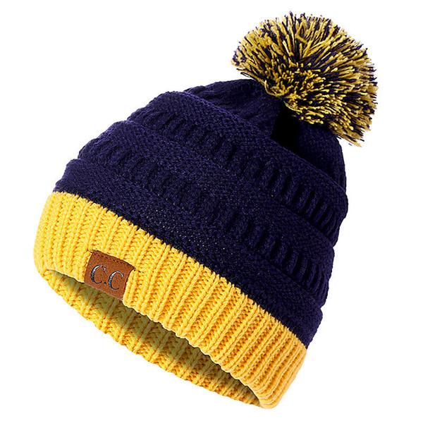 b69740bd653 CC Colorful Beanies Cotton Wool Fur Ball Cap Pom Poms Winter Hat For Women  Girl