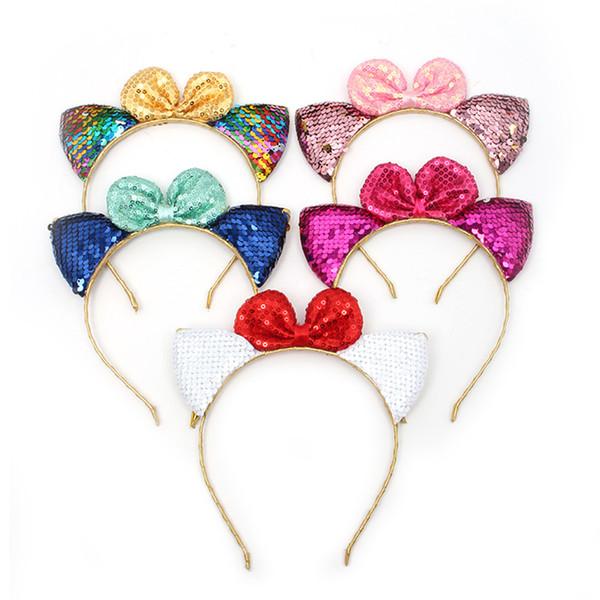 2018 Neue Pailletten Mädchen Kopfschmuck Bogen Haarschmuck Baby Katze Ohren Form Kinder Stirnband Urlaub Kleid