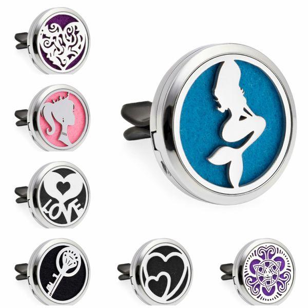 Mermaid Princess Key 30mm Magnetic Essential Oil Aromatherapy Car Diffuser Locket Perfume Locket Vent Clip 10pcs Pads Random