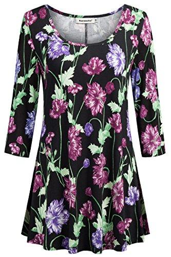 cf885c53d3a Nandashe Womens 3 4 Sleeves Floral Tunic Shirts Summer Casual Dressy ...