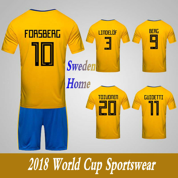 Men's Clothing Tracksuits Sweden National Team Home Football Sport Suits 2018 World Cup Soccer Uniform Clothes Shorts
