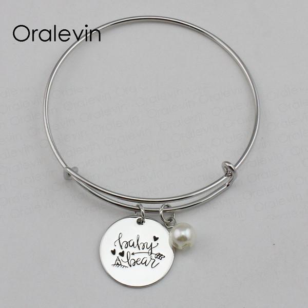 BABY BEAR Inspirational Hand Stamped Engraved Custom Pendant Expandable Wire Bangle Bracelet Fashion Jewelry,10Pcs/Lot, #LN2242B