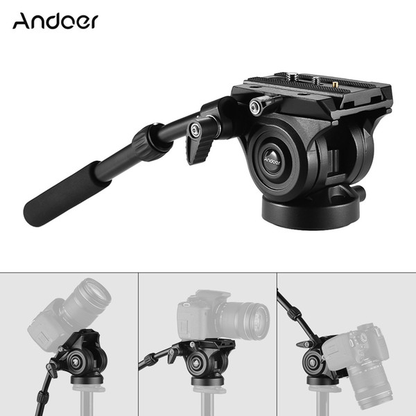 Andoer VH05 Camera Camcorder Tripod Head Fluid Drag Head with Quick Release Plate Aluminum Alloy for Canon Nikon Sony A7 Video