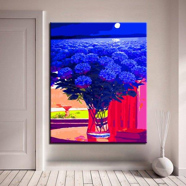 Acheter Encadré Diy Numérique Bleu Fleurs à Lhuile Photos Par Numéros Acrylique Peinture à La Main Abstraite Mur Art Toile Peinture Pour La Maison