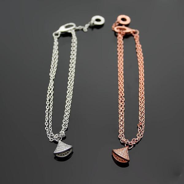 Acier inoxydable 316L titane B lettre diamants jupe diamants style bohème couple bracelet en argent plaqué or rose 18 carats bracelet double dames
