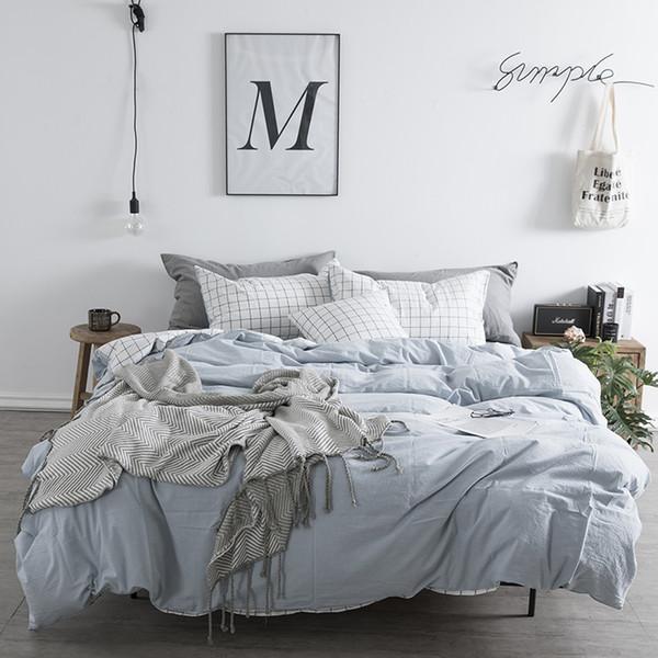 Lenzuola in lino di puro cotone Set Queen Blu Biancheria da letto per ragazza Copridivano in plaid Copripiumino in stile cinese tradizionale