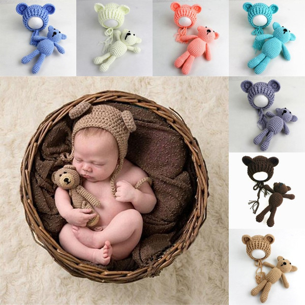 cute Baby bear Cap + Toy Newborn Baby Toddler infant Bear hats for Photo Prop Photography Baby bear Knitted Caps
