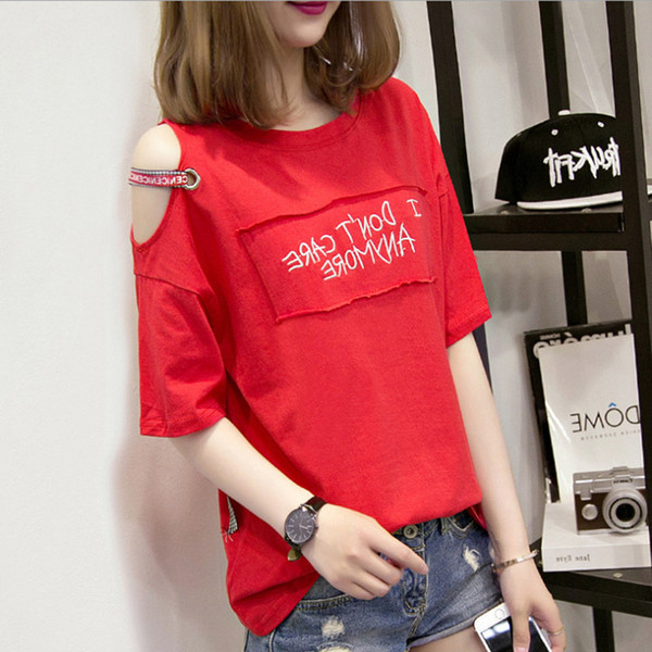 Fashion T-shirt Women Off Shoulder Top Patchwork Embroidery I Dont Care Anymore Cotton Loose Short Tassel Woman Tshirt Top