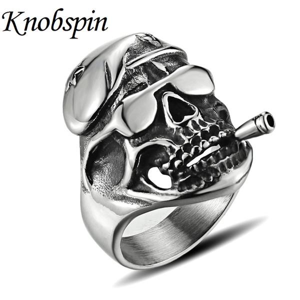 Очарование очки череп кольца для мужчин титана стали ювелирные изделия панк палец кольца уникальный курильщик anel masculino размер 10-13 bague homme