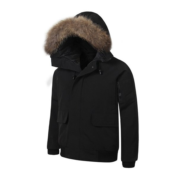 Bomber Winter Fourrure Down Parka Homme Jassen Chaquetas Outerwear Big Fur Hooded Fourrure Manteau Canada Down Jacket Coat Hiver Doudoune