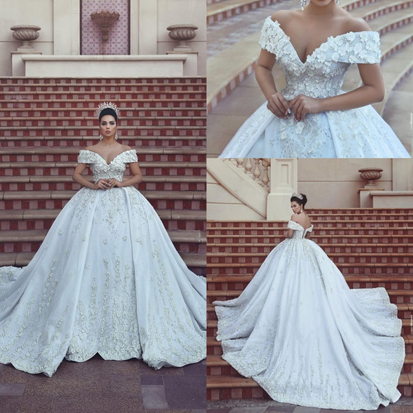 2018 New Arrival Said Mhamad Off Shoulder Ball Gown Wedding Dresses Handmade Flowers Applique Lace Up Back Formal Bridal Gown C