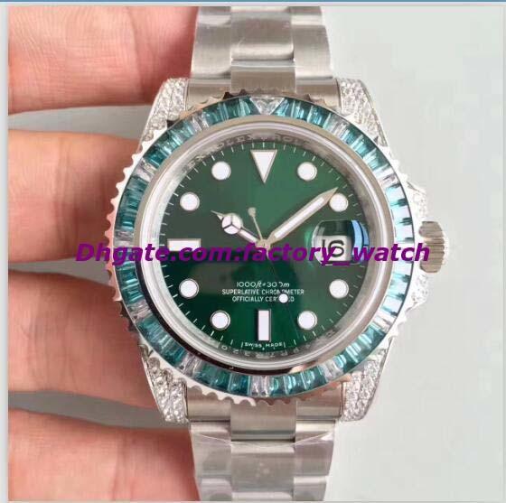 Luxury Watch Best V7 Version Automatic Green Diamond Bezel Eta 2836 Automatic Date Men 116610 Dive Sport Men Watches