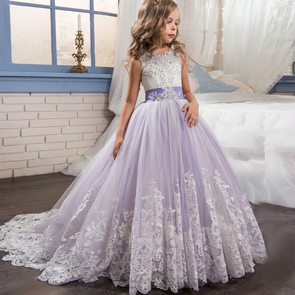 Beaded Lace Applique Flower Girl Dresses With Long Train Kids Ball Gown Beautiful First Communion Dresses Purple/Pink 2018 Evening Gowns