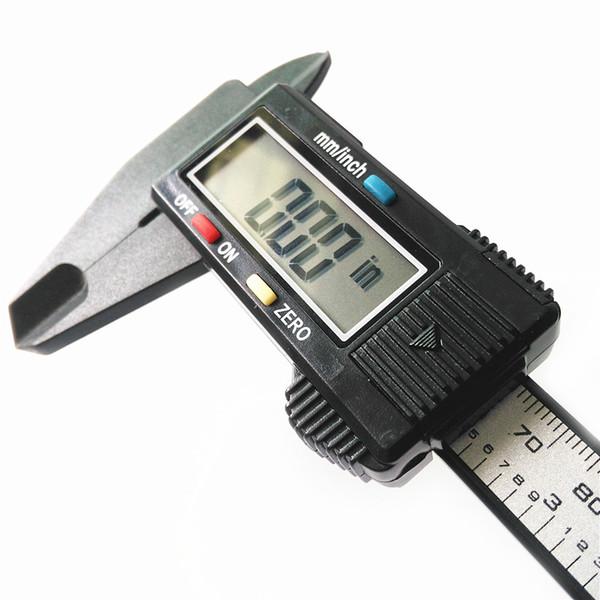 Composites en fibre de carbone LCD Calibre num/érique Calibre 0-150mm Jauge Microm/ètre Outil de mesure Calibre R/ègle avec conversion pouce en mm Noir