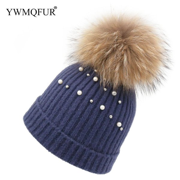 Autumn & Winter Knied Wool Hats For Women Cute Bead decoration Female Caps & Real Raccoon Fur Ball With Free Shipping YWMQFUR