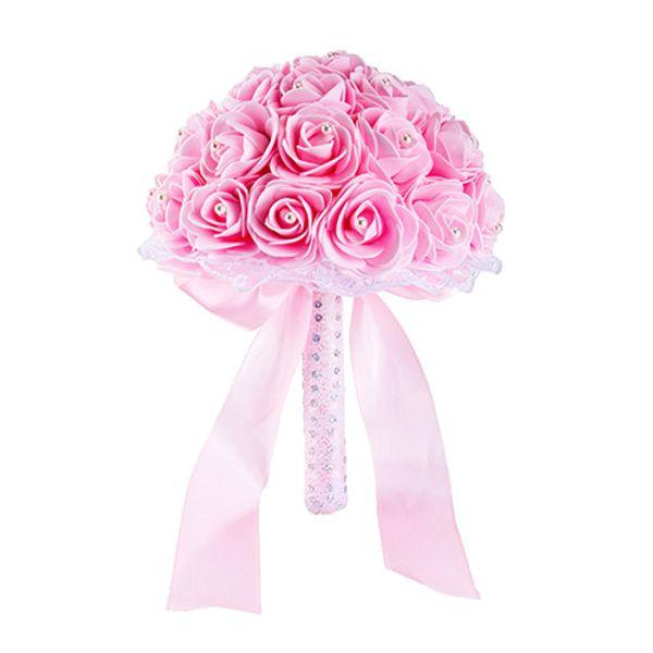 Elegante giallo bianco blu fiori matrimonio bouquet da sposa a mano artificiale bouquet da sposa rosa per la decorazione di nozze CPA1592