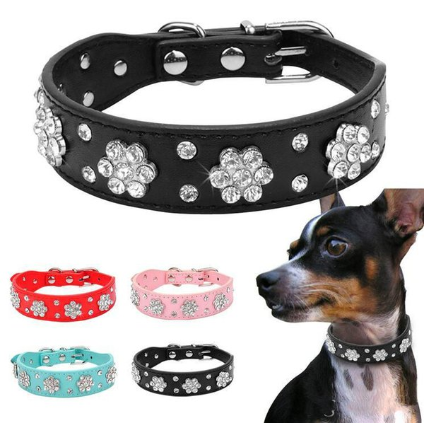 2018 Hot sales Didog Rhinestone Dog Collar Diamante Pet Necklace Bling Cat Leather Collars Blue Pink Black Red For Small Medium Dogs