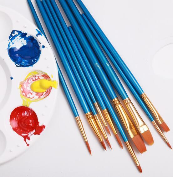 MOQ:1pcs Cheap Watercolor Gouache Painting Brushes Different Shape Round Pointed Toe Nylon Hair Painting Brush Set Art Supplies