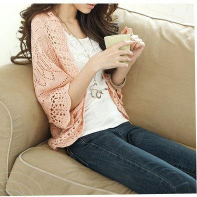 2018 Spring and summer new Korean women Hollow thin knitted Cardigan sweaters Lady loose Bat sleeve Little shawl female knitwear