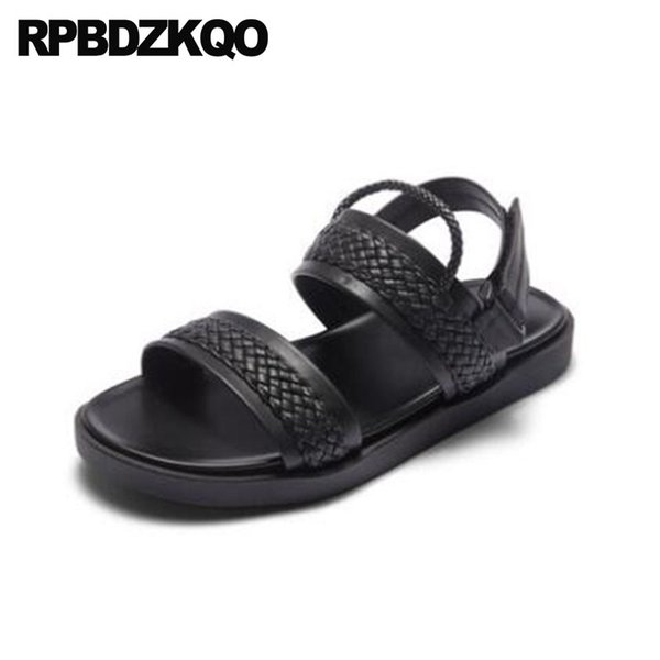 Strap Black Flat Open Toe Summer Japanese Fashion Shoes Outdoor Breathable Designer Men High Quality Leather 2018 Casual Woven