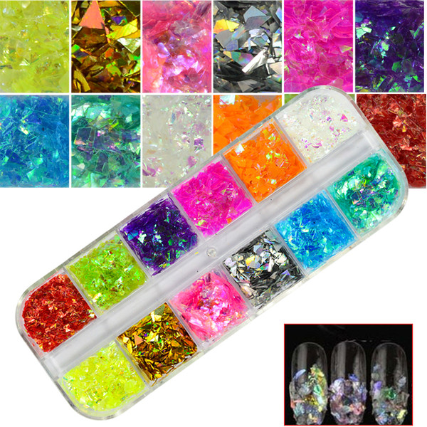 best selling 1 Set Nail Glitter 12 Candy Color Mixed Ice Mylar Shell Foils Nail Art Flakes Manicure Nails Tips Decorations 3D Designs CHBGZ