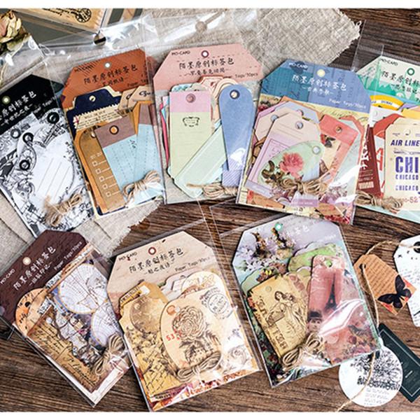 MO.CARD Vintage designs paper tag memo pad message note 1 lot = 1 pack = 30 pcs