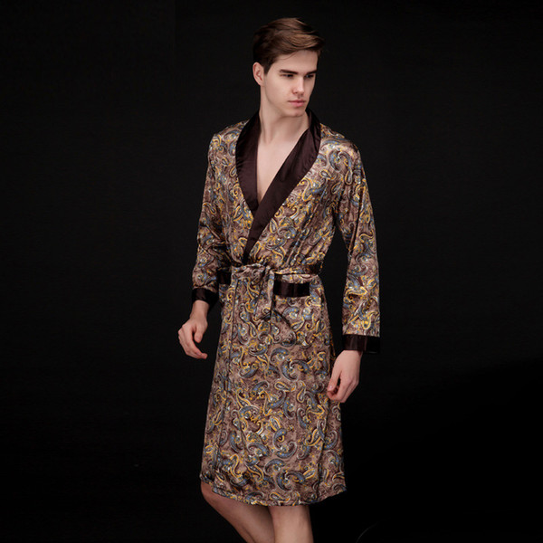 Coffee And Navy Blue Men Silk Robes 2016 Male Senior Satin Sleepwear Summer Long Paisley Pattern Robe Set Long Sleeves Nightgown