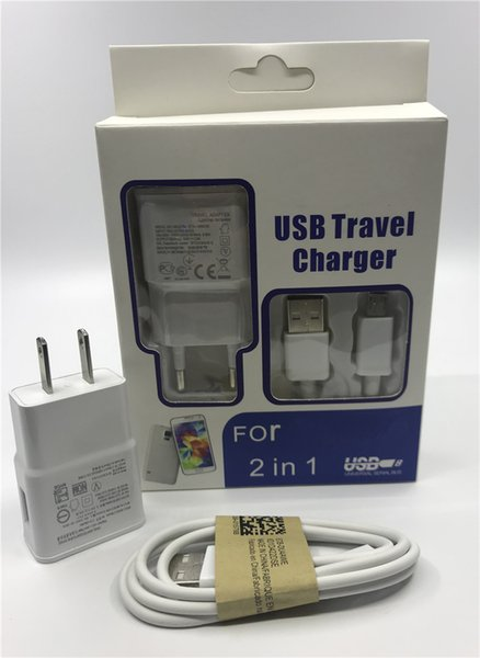2 in 1 charger kits 2A 2000mA US EU plug Home Wall Chargers MINI USB Adapter + MICRO USB DATA Charger CABLE with retail For SAMSUNG 100 set