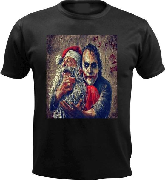 Benim Hediye Merry Christmas Santa Joker Korkunç Erkekler T gömlek Hediye Noel Hediyesi 2018 Yeni Erkek T Shirt Baskılı T-Shirt Erkekler