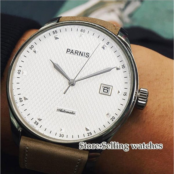 43mm white dial date window ST 2551 automatic mens watch
